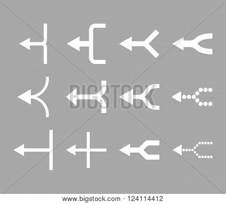 Unite Arrows Left vector icon set. Collection style is white flat symbols on a silver background. Unite Arrows Left icons.