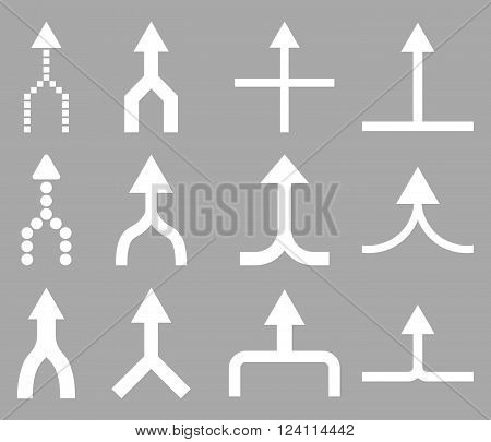 Unite Arrows Up vector icon set. Collection style is white flat symbols on a silver background. Unite Arrows Up icons.