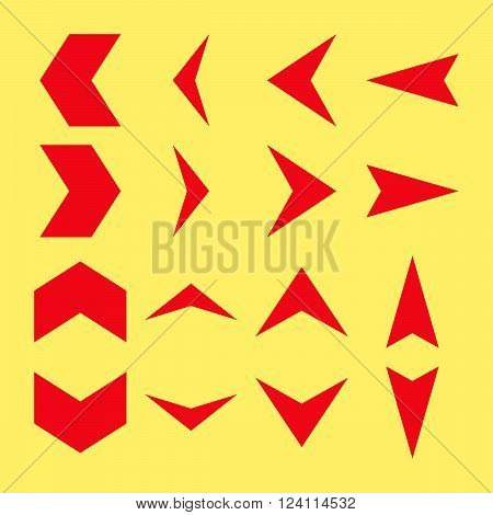 Arrowheads vector icon set. Collection style is red flat symbols on a yellow background. Arrowheads icons.