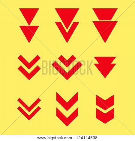 Down Direction vector icon set. Collection style is red flat symbols on a yellow background. Down Direction icons.