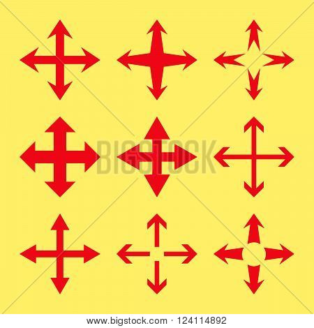 Expand Arrows vector icon set. Collection style is red flat symbols on a yellow background. Expand Arrows icons.