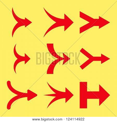 Join Arrows Right vector icon set. Collection style is red flat symbols on a yellow background. Join Arrows Right icons.