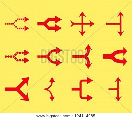 Junction Arrows Right vector icon set. Collection style is red flat symbols on a yellow background. Junction Arrows Right icons.