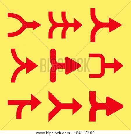 Merge Arrows Right vector icon set. Collection style is red flat symbols on a yellow background. Merge Arrows Right icons.