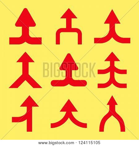 Merge Arrows Up vector icon set. Collection style is red flat symbols on a yellow background. Merge Arrows Up icons.
