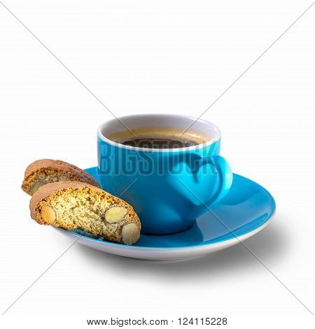 Cantuccini and espresso cup with shadow in heart shape isolated