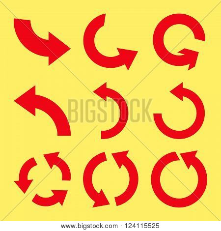 Rotate Counterclockwise vector icon set. Collection style is red flat symbols on a yellow background. Rotate Counterclockwise icons.