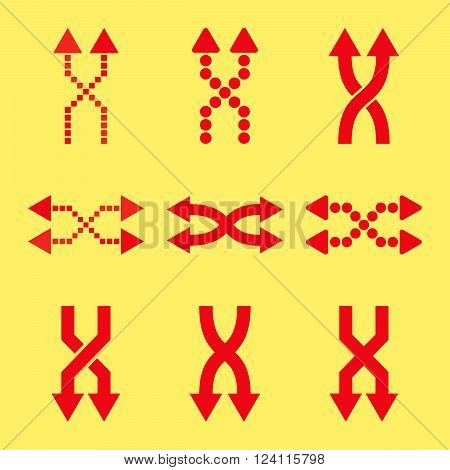 Shuffle Arrows vector icon set. Collection style is red flat symbols on a yellow background. Shuffle Arrows icons.