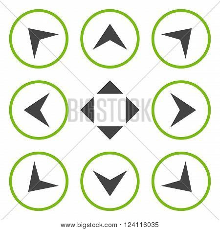 Circled Arrowheads vector icon set. Collection style is bicolor eco green and gray flat symbols on a white background. Circled Arrowheads icons.