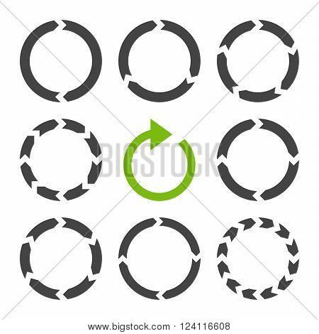 Rotation Direction vector icon set. Collection style is bicolor eco green and gray flat symbols on a white background. Rotation Direction icons.