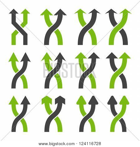 Shuffle Arrows Up vector icon set. Collection style is bicolor eco green and gray flat symbols on a white background. Shuffle Arrows Up icons.