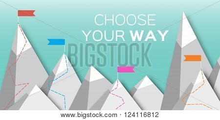 Vector flat flag on mountain. Choose you way. Mission. Success illustration. Top Point Flag Goal achievement. Business concept. Winning of competition or triumph design.