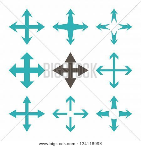 Expand Arrows vector icon set. Collection style is bicolor grey and cyan flat symbols on a white background. Expand Arrows icons.