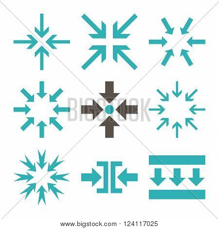 Minimize Arrows vector icon set. Collection style is bicolor grey and cyan flat symbols on a white background. Minimize Arrows icons.