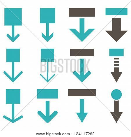 Pull Down vector icon set. Collection style is bicolor grey and cyan flat symbols on a white background. Pull Down icons.