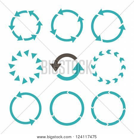 Rotation Direction vector icon set. Collection style is bicolor grey and cyan flat symbols on a white background. Rotation Direction icons.