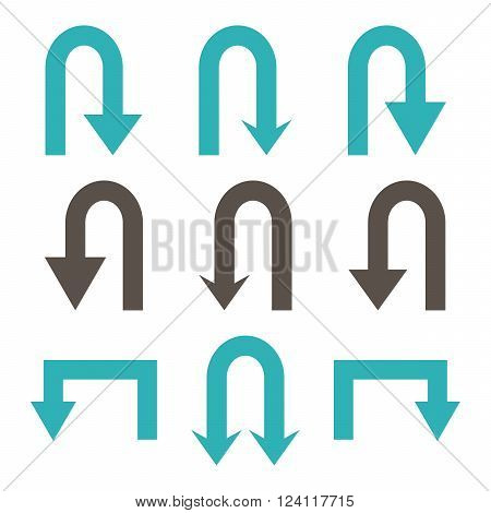 Turn Back Arrows vector icon set. Collection style is bicolor grey and cyan flat symbols on a white background. Turn Back Arrows icons.