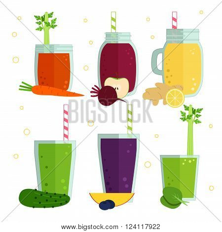 Set of vector illustration of detox fruit and vegetables cocktails, smoothies. Tasty set for design menu of cafe or restaurant. Fresh juice for healthy life, diets.