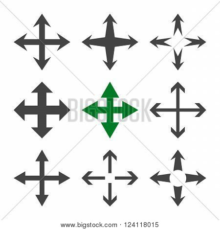 Expand Arrows vector icon set. Collection style is bicolor green and gray flat symbols on a white background. Expand Arrows icons.