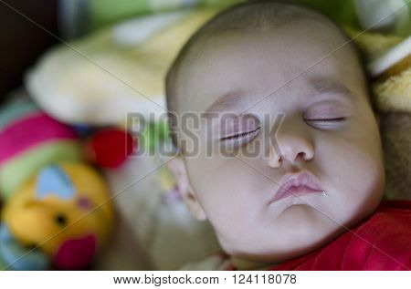 Calm sleeping baby at midday at home ** Note: Soft Focus at 100%, best at smaller sizes
