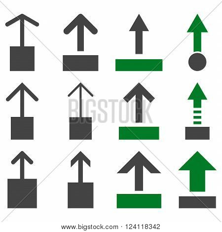 Pull Up vector icon set. Collection style is bicolor green and gray flat symbols on a white background. Pull Up icons.