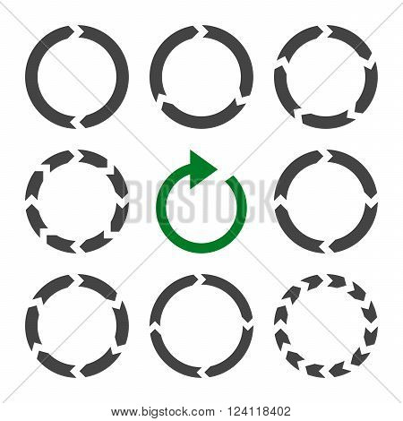 Rotation Direction vector icon set. Collection style is bicolor green and gray flat symbols on a white background. Rotation Direction icons.
