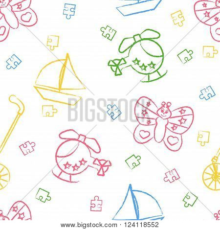 Seamless pattern children's color crayon drawings on white background. Hand-drawn style. Seamless vector wallpaper with the image Rolling toys, butterfly, helicopter, boat, puzzle