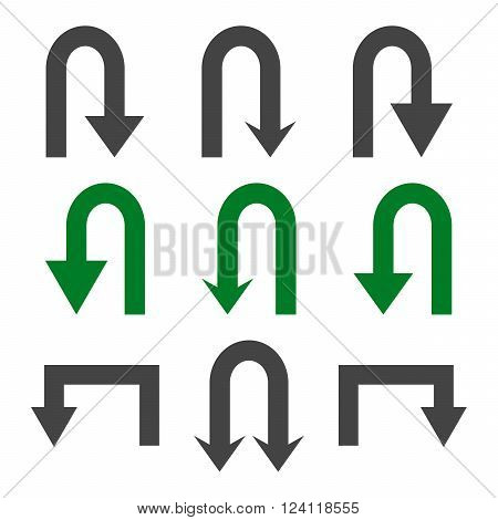 Turn Back Arrows vector icon set. Collection style is bicolor green and gray flat symbols on a white background. Turn Back Arrows icons.