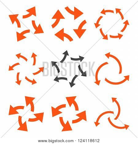 Centrifugal Arrows vector icon set. Collection style is bicolor orange and gray flat symbols on a white background. Centrifugal Arrows icons.