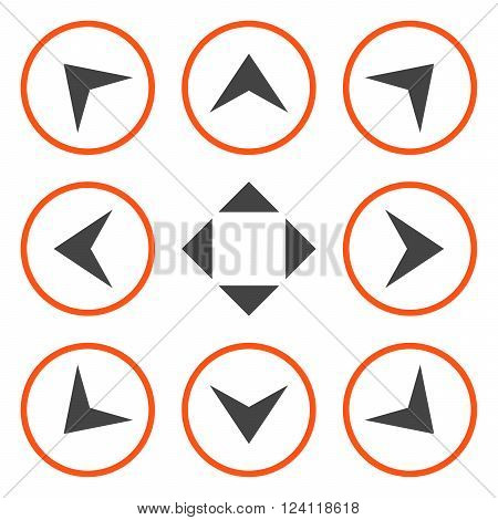 Circled Arrowheads vector icon set. Collection style is bicolor orange and gray flat symbols on a white background. Circled Arrowheads icons.
