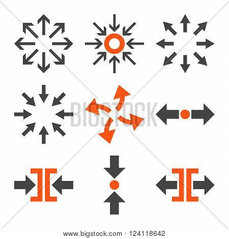 Compress and Explode Arrows vector icon set. Collection style is bicolor orange and gray flat symbols on a white background. Compress And Explode Arrows icons.