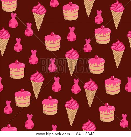 Confections. Seamless background. Vector illustration. Breakfast in the morning