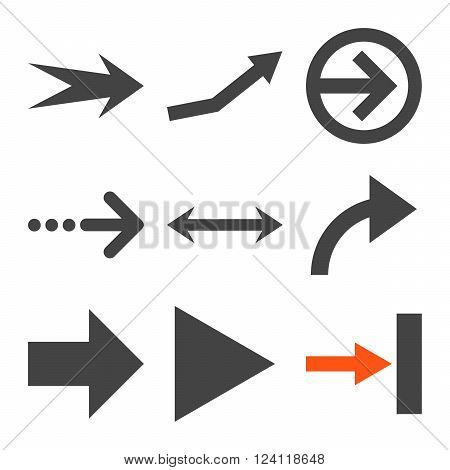 Direction Arrows vector icon set. Collection style is bicolor orange and gray flat symbols on a white background. Direction Arrows icons.