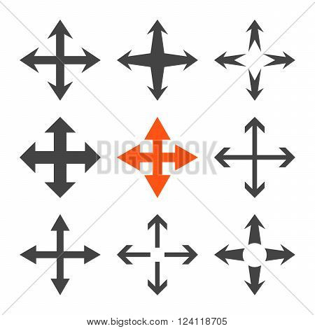 Expand Arrows vector icon set. Collection style is bicolor orange and gray flat symbols on a white background. Expand Arrows icons.