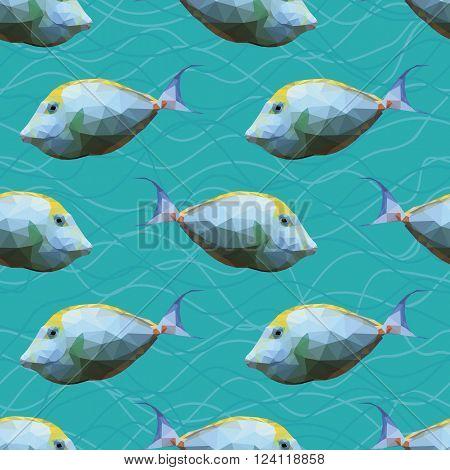 Seamless pattern with polygonal unicornfishes. Triangle low polygon style. Endless backdrop with colorful white and yellow orange spine unicorn fishes on deep blue sea background with waves