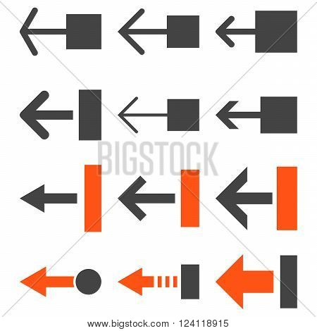 Pull Left vector icon set. Collection style is bicolor orange and gray flat symbols on a white background. Pull Left icons.