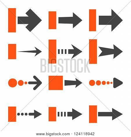 Pull Right vector icon set. Collection style is bicolor orange and gray flat symbols on a white background. Pull Right icons.