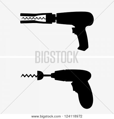 Drill corkscrews on white background, shade pictures