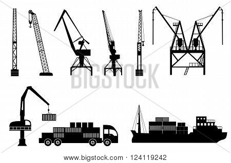Silhouettes of loading lifting harbor cranes truck and container ship. Vector icons set
