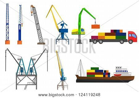 Lifting loading harbor cranes truck and container ship set. Flat vector illustration