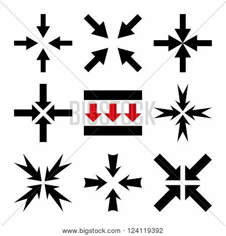 Pressure Arrows vector icon set. Collection style is bicolor intensive red and black flat symbols on a white background. Pressure Arrows icons.