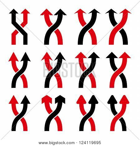 Shuffle Arrows Up vector icon set. Collection style is bicolor intensive red and black flat symbols on a white background. Shuffle Arrows Up icons.