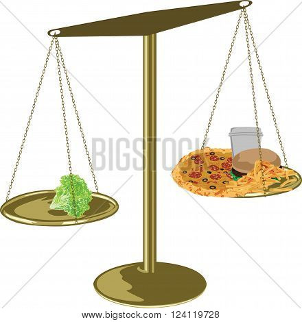 scales with a healthy and harmful food on white background