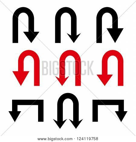 Turn Back Arrows vector icon set. Collection style is bicolor intensive red and black flat symbols on a white background. Turn Back Arrows icons.