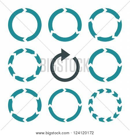 Rotation Direction vector icon set. Collection style is bicolor soft blue flat symbols on a white background. Rotation Direction icons.