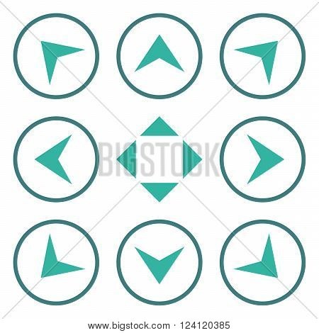 Circled Arrowheads vector icon set. Collection style is bicolor cobalt and cyan flat symbols on a white background. Circled Arrowheads icons.
