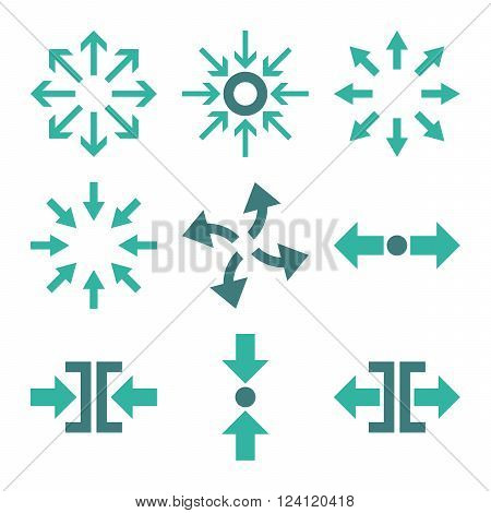 Compress and Explode Arrows vector icon set. Collection style is bicolor cobalt and cyan flat symbols on a white background. Compress And Explode Arrows icons.