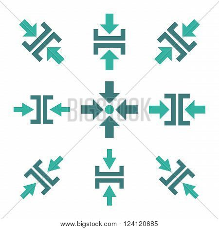 Pressure Directions vector icon set. Collection style is bicolor cobalt and cyan flat symbols on a white background. Pressure Directions icons.