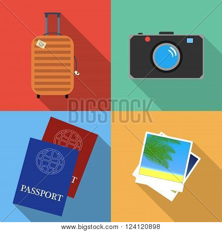 Travel flat icons set. Tourism and vacation flat icons. Travel bag camera passport and photo flat design vector icons.