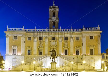 Capitoline hill with Palazzo Senatorio at twilight Rome Italy
